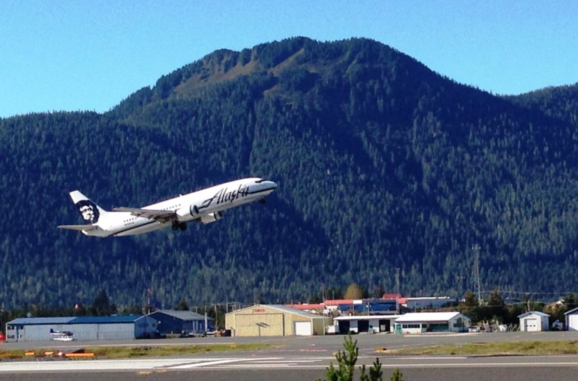 An Alaska Airlines jet takes off from Petersburg's airport in 2014. A Feb. 29, 2016, flight was struck by lightning. (Photo by Ed Schoenfeld/CoastAlaska News)