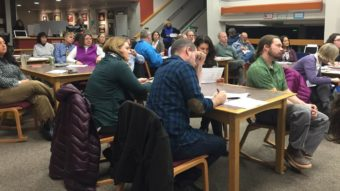 The Juneau School District held a public forum on the budget Feb. 2, 2016 at the Juneau-Douglas High School library. (Photo by Lisa Phu/KTOO)