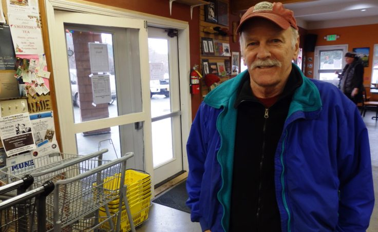 """Ron Jackson at a Haines coffee shop. He said, """"Senior income is stable ... it survives the ups and downs of an economy."""" (Photo by Emily Files, KHNS)"""
