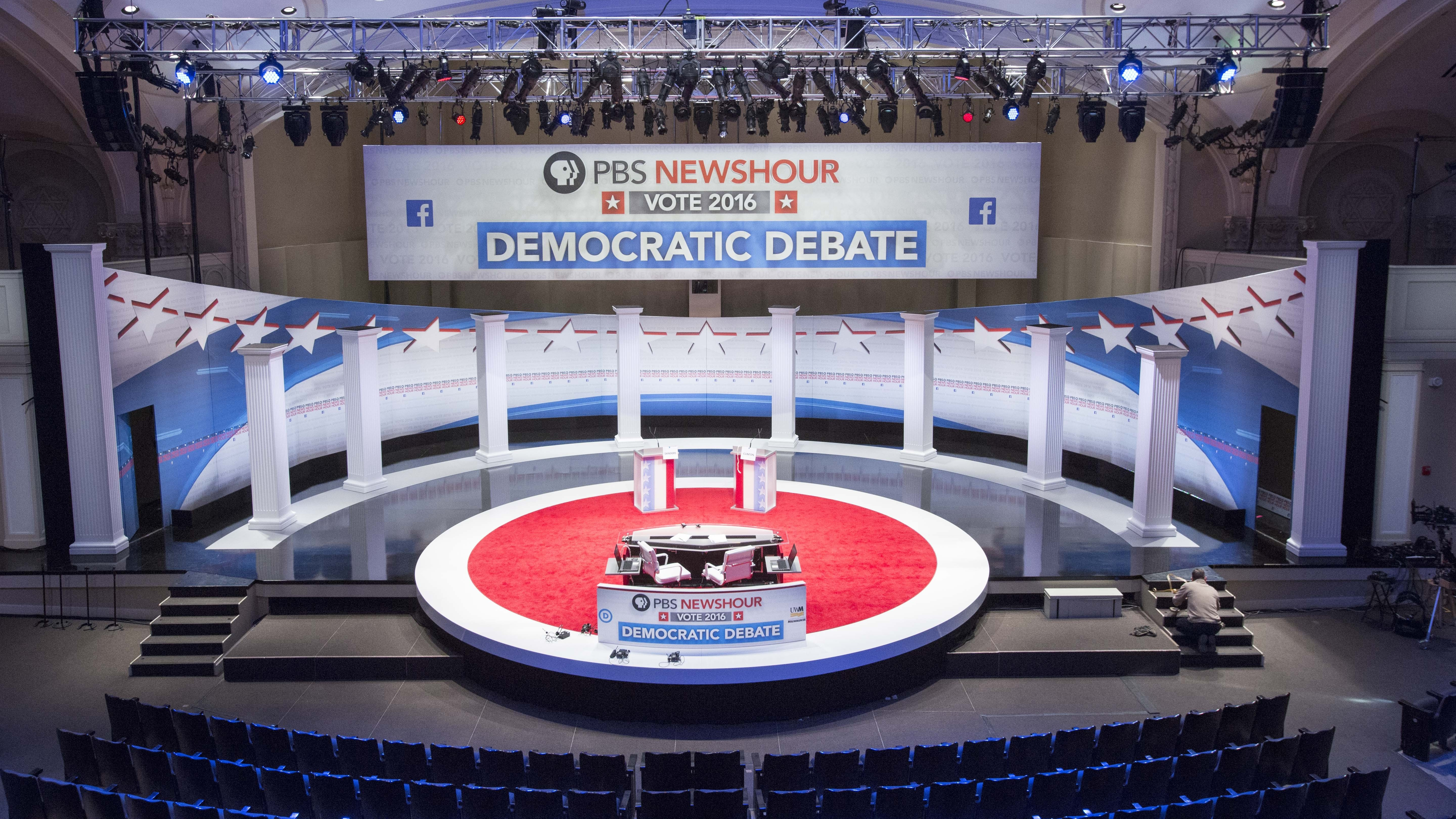 Final touches to the stage for Thursday's Democratic debate