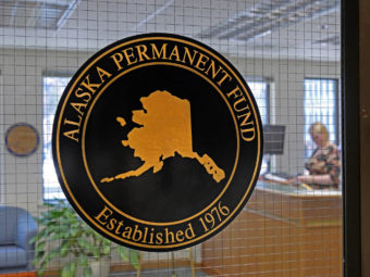 An Alaska Permanent Fund seal marks the office of the Alaska Permanent Fund Corp. in Juneau on March 14, 2016.