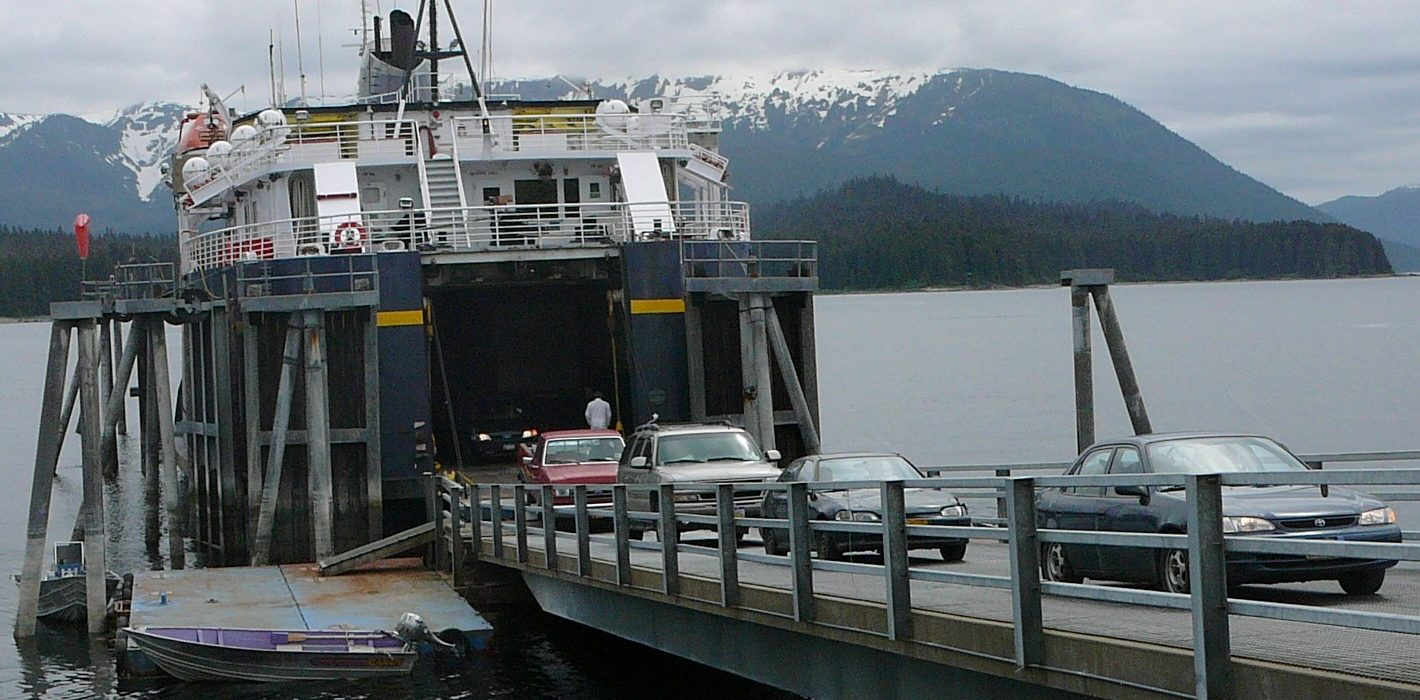 Drivers move their cars and trucks off the ferry LeConte at the Angoon terminal in 2010.