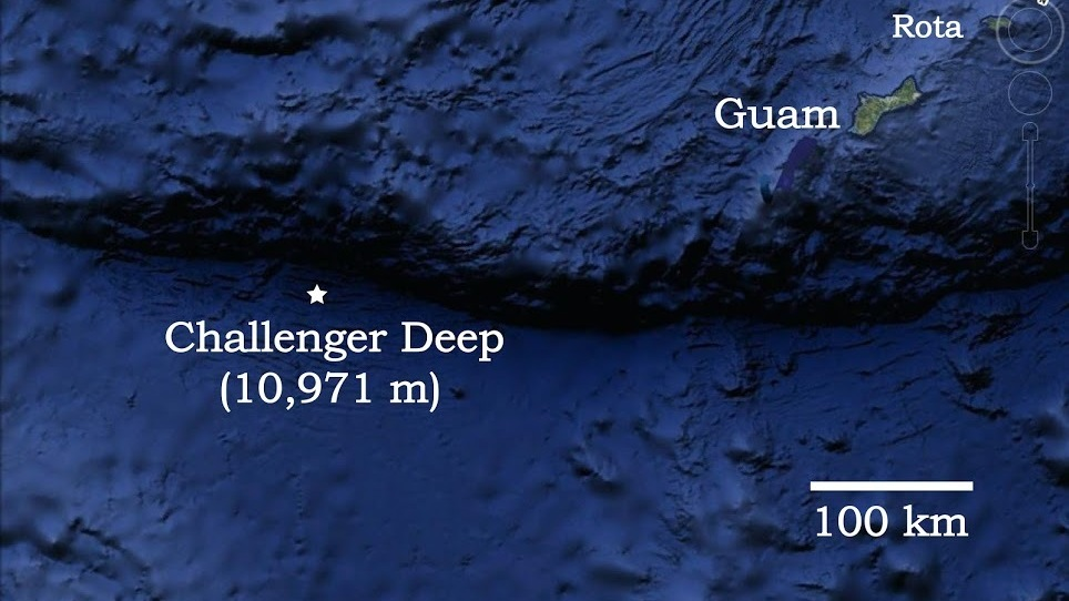 A map shows the location of the Pacific Ocean\'s Challenger Deep, in ...