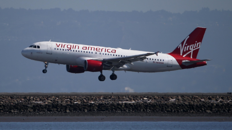 A Virgin America Plane Lands At San Francisco