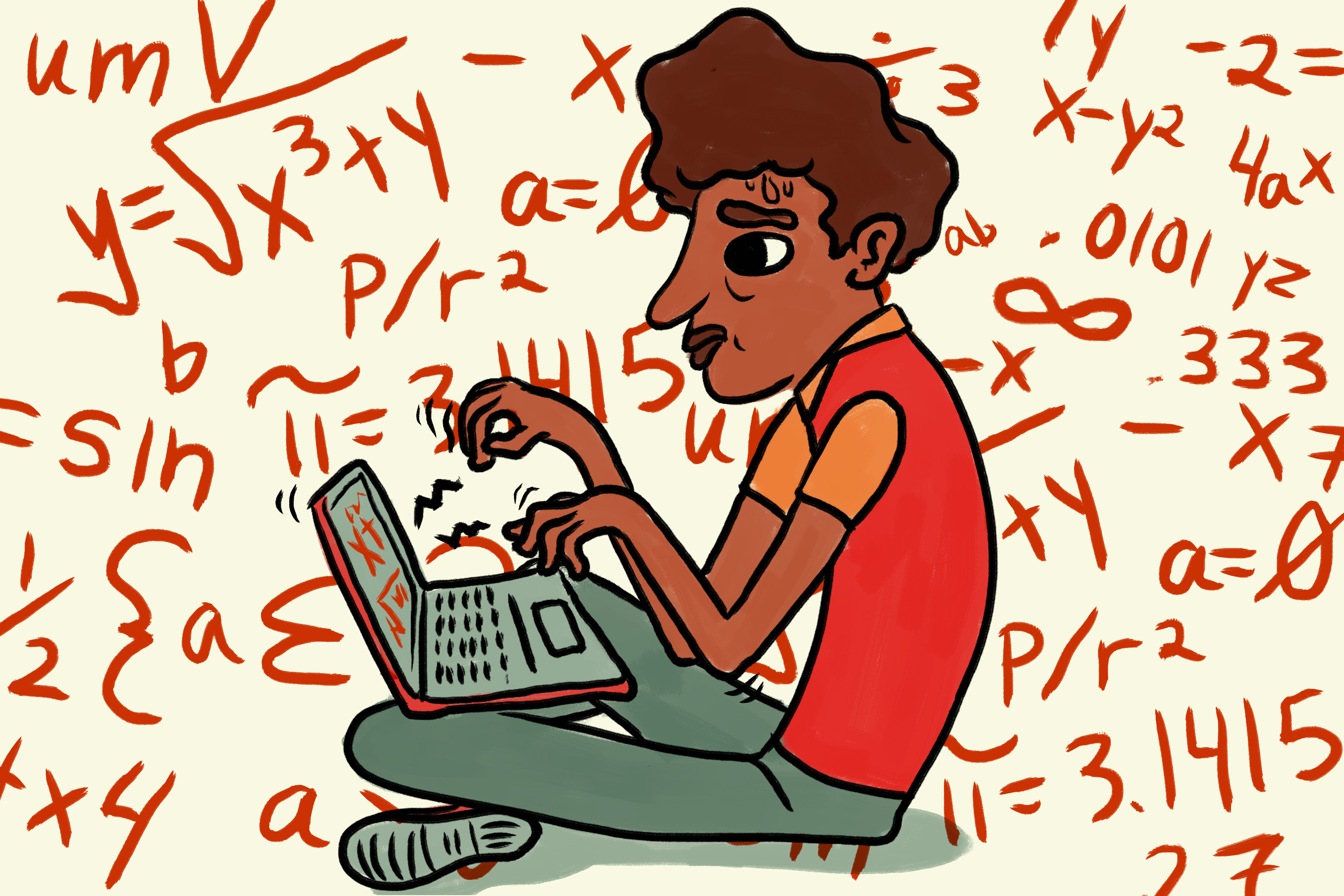 student looking confused while taking math course online - ktoo