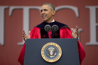 President Barack Obama speaks during Rutgers University's 250th Anniversary commencement ceremony on Sunday in New Brunswick, N.J. Evan Vucci/AP