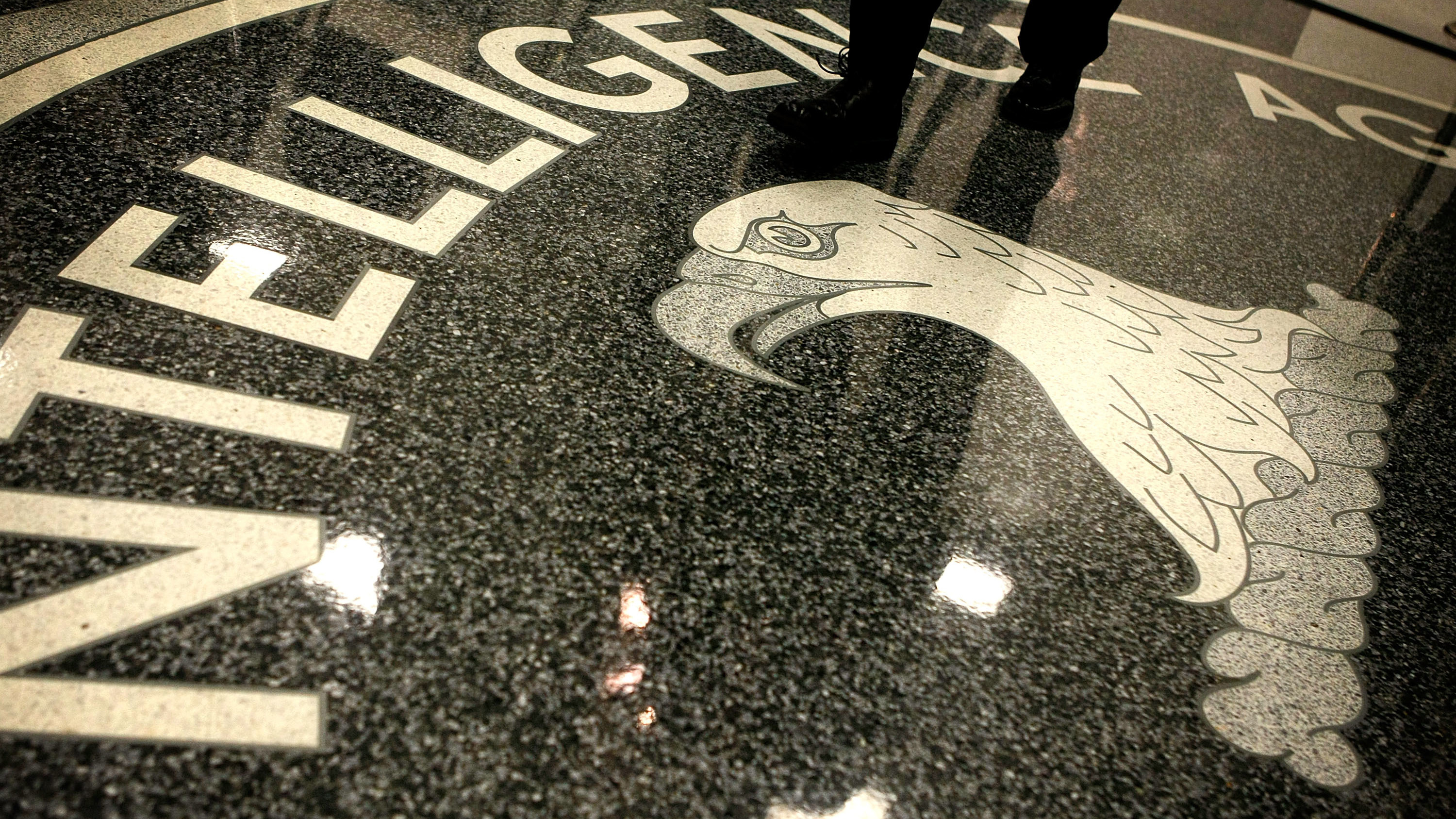 The seal of the Central Intelligence Agency at the lobby of