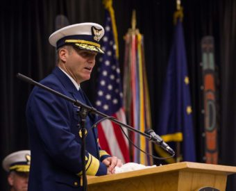 Rear Admiral Michael F. McAllister speaking at the change of command ceremony in Juneau on June 15, 2016 (Photo by David Purdy/KTOO)