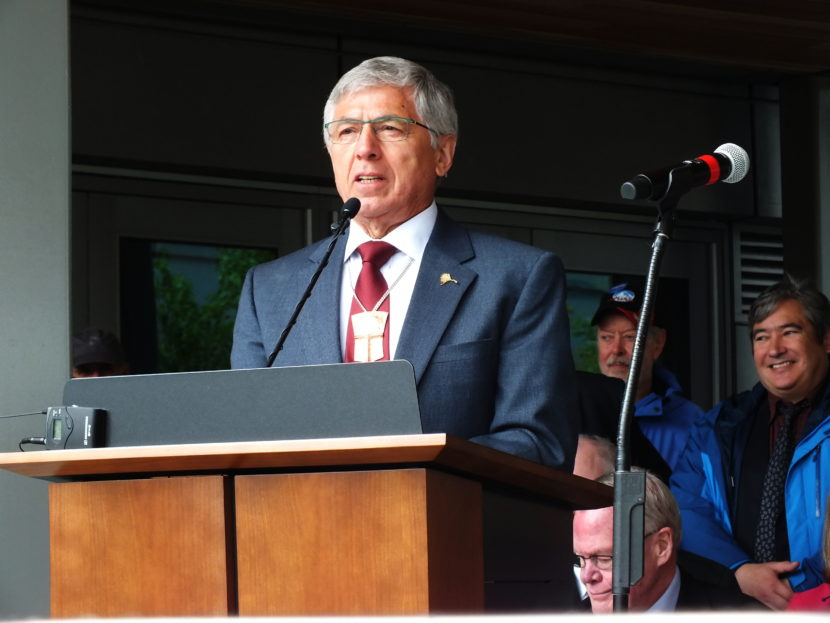 Lt. Gov. Byron Mallott speaks during grand opening of the Father Andrew P. Kashevaroff Library, Archives and Museum Building on June 6, 2016.