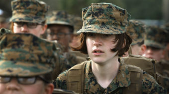 Marine recruit Haley Evans stands in formation during boot camp at Marine Corps Recruit Depot Parris Island, S.C., in 2013. Scott Olson/Getty Images
