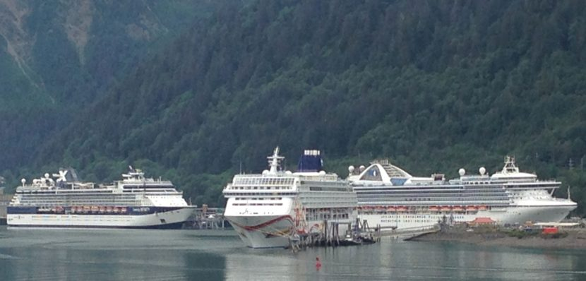 Three cruise ships dock in downtown Juneau on July 14, at the height of the tourist season (Photo by Ed Schoenfeld/ CoastAlaska News)