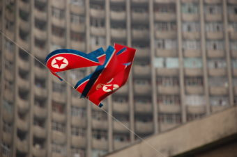 "A North Korean flag in Pyongyang. (Creative Commons photo by < a href=""https://flic.kr/p/2yHrAM"">(stephan))"