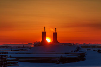 North Slope Drill Rigs at sunrise