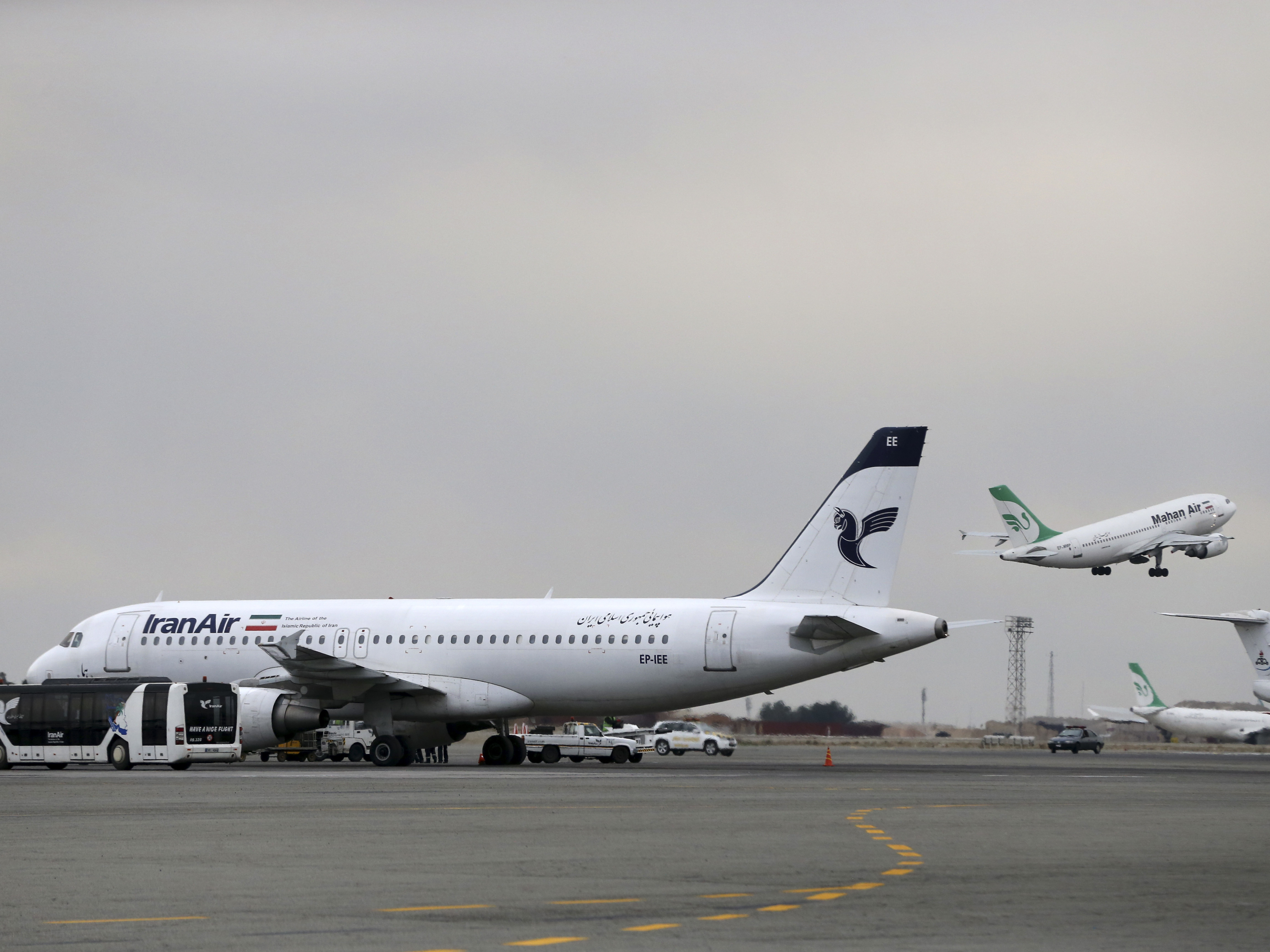 An Iran Air Jet Sits On The Tarmac Of Tehrans Mehrabad Airport