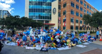 Dallas Police headquarters on July 14, 2016. Micah X. Johnson had fatally shot five police officers and wounded nine others in Dallas on July 7. (Creative Commons photo by Dave Hensley)