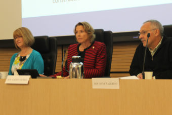 Lawmakers listened to testimony from Wood Mackenzie's David Barrowman at a joint hearing of the House and Senate Resources Committees on Aug. 24, 2016. From left: Sen. Anna MacKinnon, R-Eagle River; Sen. Cathy Giessel, R-Anchorage; and Rep. David Talerico, R-Healy. Photo: Rachel Waldholz, Alaska's Energy Desk