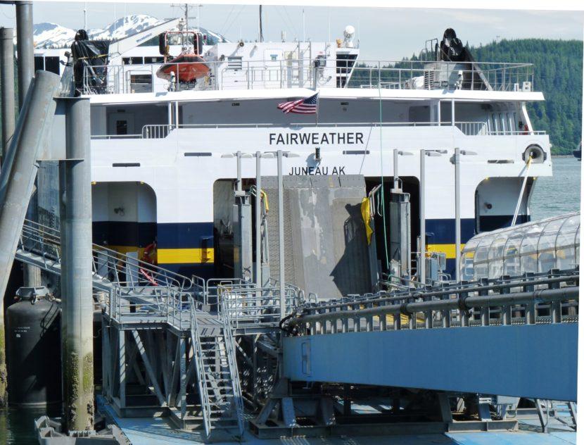 The fast ferry Fairweather docks at Juneau's Auke Bay Ferry Terminal in 2013. (Photo by Ed Schoenfeld/CoastAlaska News)