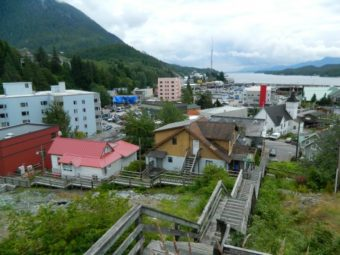 A view of Ketchikan from the top of the Edmonds Street stairs.