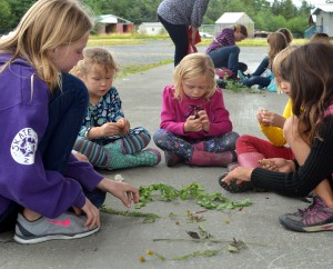 Girl Scouts study local plants in a botany work shop during a week-long camp. (Angela Denning, KFSK)