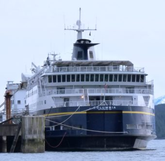 The state ferry Columbia will soon sail south for repairs to a damaged propeller. That will leave Sitka without marine highway service for two weeks. (Photo by Ed Schoenfeld/CoastAlaska News)