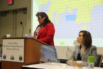 Corri Feige of DNR's Division of Oil and Gas reads out bids during the state's annual North Slope lease sale. (Photo: Rachel Waldholz/Alaska's Energy Desk)