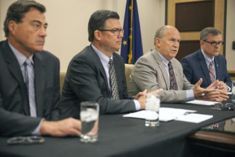 Chief Oil & Gas Advisor John Hendrix, Alaska Gasline Development Corporation President Keith Meyer, Alaska Gov. Bill Walker and Department of Natural Resources Commissioner Andy Mack gave a press conference on Friday Sept. 30, 2016 to discuss their meetings with potential Asian markets for Alaska's LNG in Anchorage, Alaska. (Photo by Rashah McChesney)