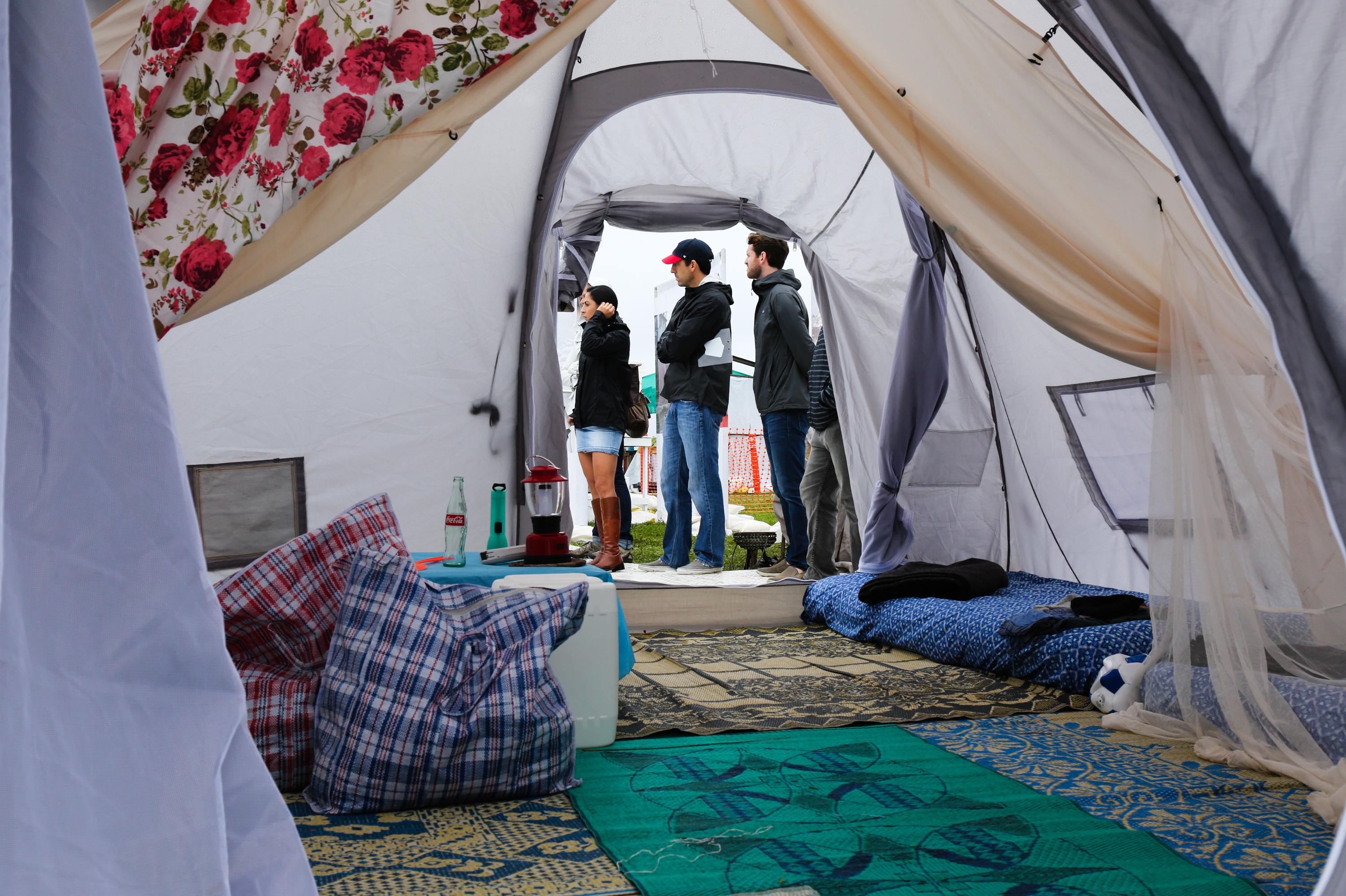 What its like inside a two family tent A cloth divider to split