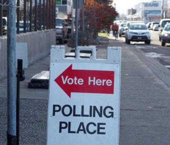 An early voting location at the Division of Elections's Region II office in midtown Anchorage (Photo: Zachariah Hughes, Alaska Public Media – Anchorage)