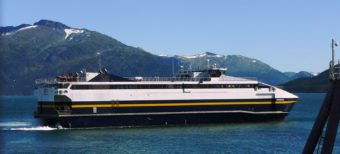 The fast ferry Chenega pulls into the Whittier terminal in September, 2011. It's been sidelined indefinitely. (Photo by Ed Schoenfeld/CoastAlaska News)