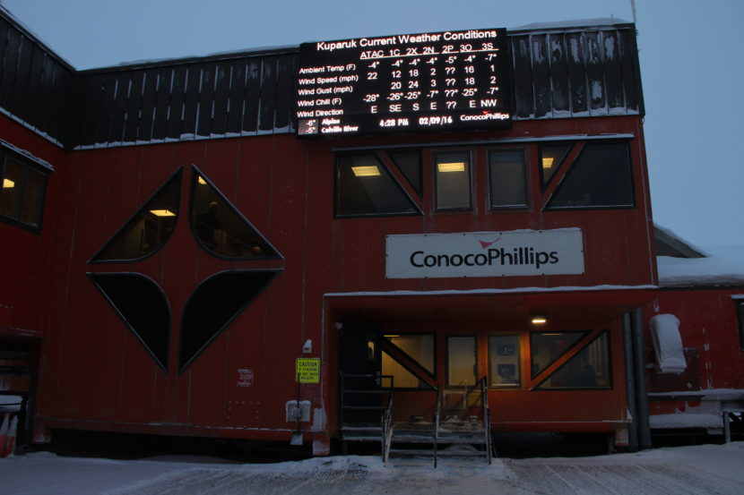 The entrance to ConocoPhillips' Kuparuk Field camp in February 2016.