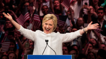 Hillary Clinton claims victory in the Democratic primary in the Brooklyn Navy Yard on June 7, 2016. Drew Angerer/Getty Images