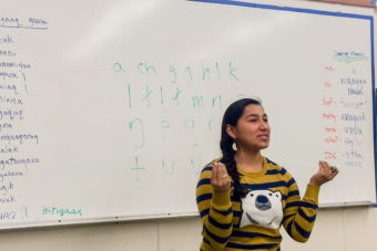 Marjorie Tahbone, the new vice chair of Inuusiq, Inc., teaching an Inupiaq class at the Nome high school in 2014. Inuusiq, a new non-profit, is creating a language nest in Shishmaref to revitalize Inupiaq culture and language. (File photo by KNOM)