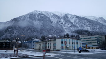 Mount Juneau bears the recent Saturday, Dec. 3, 2016, snowfall that fell on Alaska's capital city about midday. (Photo by Tripp J Crouse/KTOO)