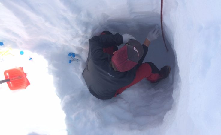 Each of the snow pits dug during the sampling effort were about three feet deep.