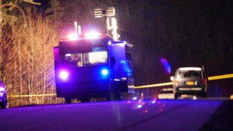 Juneau Police Department's Mobile Incident Command Center blocks the road to the crime scene on Saturday night, Dec. 3, 2016. (Photo by Quinton Chandler/KTOO)