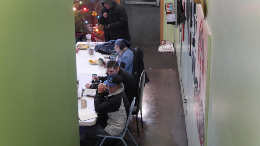 Glory Hole visitors eating breakfast on Monday. (Photo by Quinton Chandler/KTOO)