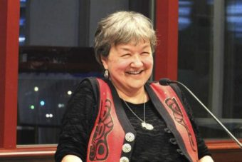 """Writer Ernestine Hayes, reads from """"The Tao of Raven"""" during a panel discussion in Juneau on Sept. 24, 2015. (Photo by Mary Catherine Martin/Capital City Weekly)"""
