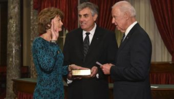 Lisa Murkowski is sworn in to her third Senate term by Vice President Joe Biden. Her husband Verne Martell, holds the Bible during the re-enactment of the ceremony. (Photo courtesy of Office of Lisa Murkowski)