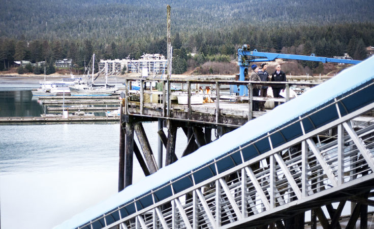 Juneau Docks and Harbors port engineer Gary Gillette listens Tuesday, Jan. 31, 2017, as KTOO reporter Jacob Resneck interviews port director Carl Uchytil about the city's proposed expansion of Statter Harbor and the Auke Bay Marine Station property. (Photo by Tripp J Crouse/KTOO)