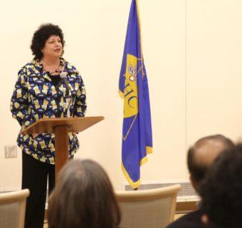 Diane Kaplan, President and CEO of the Rasmuson Foundation, addresses the crowd at the ribbon cutting ceremony at the Yukon Kuskokwim Ayagnirvik Healing Center on January 11, 2017.
