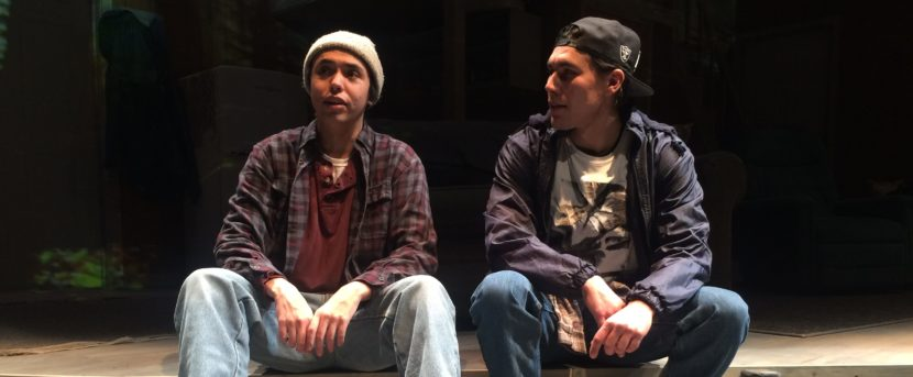 """Kholan Studi and Skyler Ray-Benson Davis portray Edward and Nick, respectively in the Perseverance Theatre's production of """"They Don't Talk Back."""" (Photo by Scott Burton/KTOO)"""
