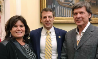 Jacqueline Pata, left, and Will Micklin, right pose with Trump Native American Coalition Chairman Markwayne Mullin during a mid-December listening session. (Photo courtesy Central Council of Tlingit and Haida Indian Tribes of Alaska)