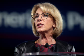 Betsy DeVos U.S. Secretary of Education Betsy DeVos speaking at the 2017 Conservative Political Action Conference (CPAC) in National Harbor, Maryland.