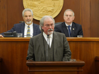 Chief Justice Craig Stowers delivers the State of the Judiciary address Feb. 8, 2017, to a joint session of the Alaska Legislature. (Photo by Skip Gray/360 North)