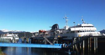 The ferries Matanuska, right, and Fairweather, left, dock at Juneau's Auke Bay terminal May 20, 2016. (Photo by Ed Schoenfeld, CoastAlaska News)