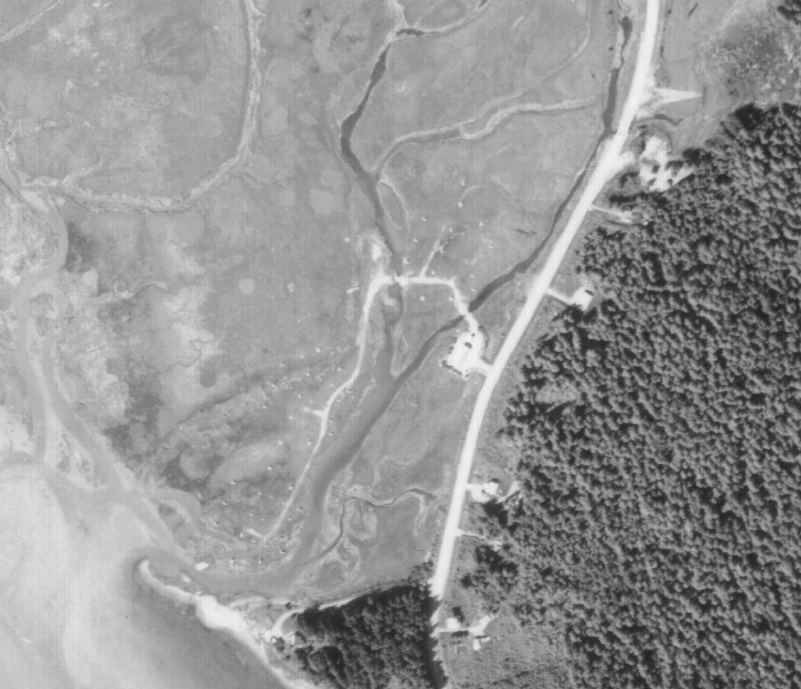 An 1962 aerial image shows a distinct footprint of the concrete blocks. (Photo courtesy City and Borough of Juneau)