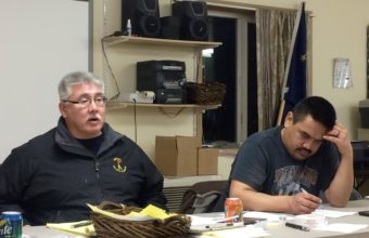 Bethel Search and Rescue President Mike Riley and Vice President Fritz Charles address BSAR members at a regular meeting on Feb. 2, 2017. (Photo by Anna Rose MacArthur/KYUK)