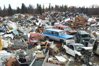 The Green Star Program plans to begin removing junk like these old vehicles in the Dillingham landfill that's accumulating in villages and other small communities around Alaska. Unlike Dillingham, the logistics of removing junk from remote villages are much more difficult, requiring transport first by barge and, often, transfer to trucks, which then take loads to recycling brokers in Fairbanks or Anchorage.