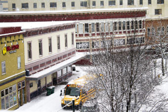 A school bus drives down Front Street on Monday morning, March 13, 2017, in downtown Juneau. (Photo courtesy Tripp J Crouse)