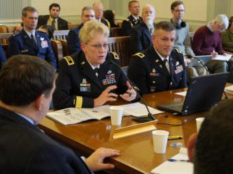 Laurel J. Hummel, Major General, Alaska National Guard, speaks before the Joint Armed Services Committee of the Alaska Legislature, March 23, 2017. (Photo by Skip Gray/360 North)